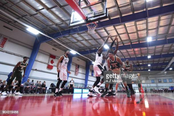 Joel Bolomboy of the Wisconsin Herd shoots the ball against the Austin Spurs during the GLeague Showcase on January 12 2018 at the Hershey Centre in...