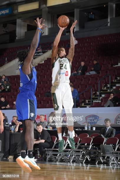 Joel Bolomboy of the Wisconsin Herd shoots the ball against the Texas Legends during the NBA G League Showcase Game 5 on January 10 2018 at the...
