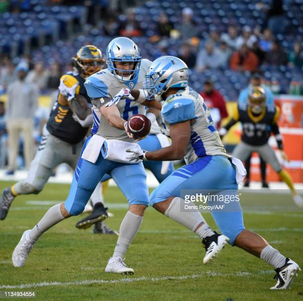 Joel Bouagnon of the Salt Lake Stallions receives the ball in an Alliance of American Football game against the San Diego Fleet at SDCCU Stadium on...