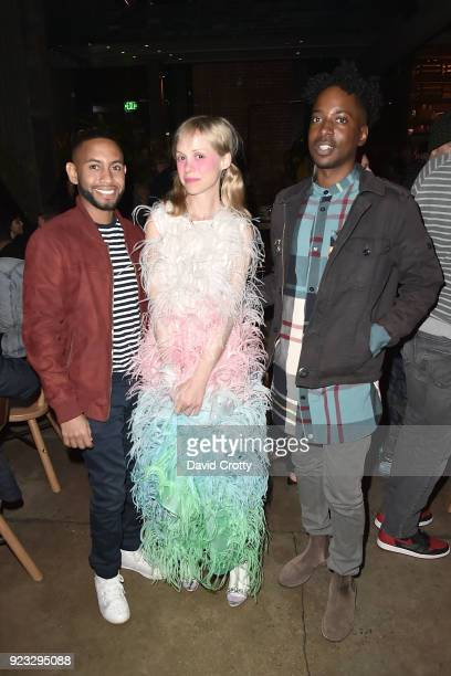 Joel Brumant Petite Meller and K Harris attend the Vhils 'Annihilation' Opening Reception on February 22 2018 in Los Angeles California