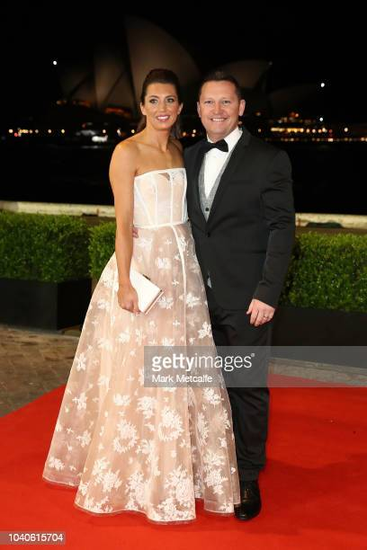 Joel Caine with his wife Myra arrive at the 2018 Dally M Awards at Overseas Passenger Terminal on September 26 2018 in Sydney Australia