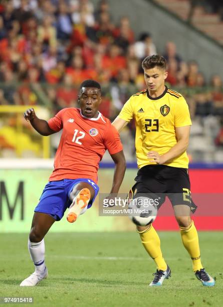 Joel CAMPBELL and Leander DENDONCKER pictured in action during a friendly game between Belgium and Costa Rica as part of preparations for the 2018...