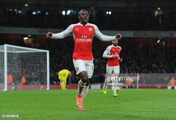 Joel Campbell celebrates scoring a goal for Arsenal during the Barclays Premier League match between Arsenal and Swansea City at Emirates Stadium on...