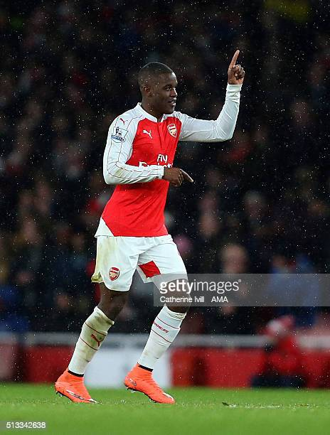Joel Campbell of Arsenal celebrates after he scores to make it 10 during the Barclays Premier League match between Arsenal and Swansea City at the...
