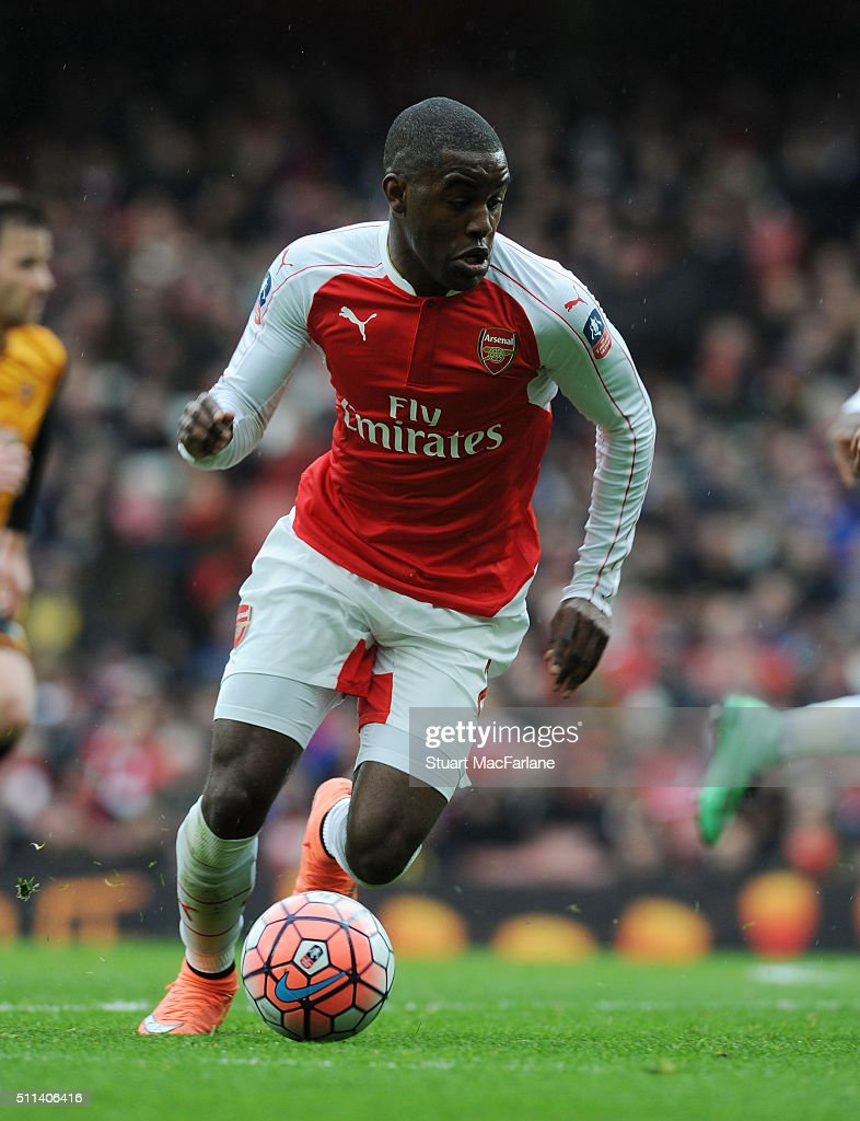 Joel Campbell of Arsenal during the Emirates FA Cup Fifth Round match between Arsenal and Hull City at Emirates Stadium on February 20, 2016 in London, England.