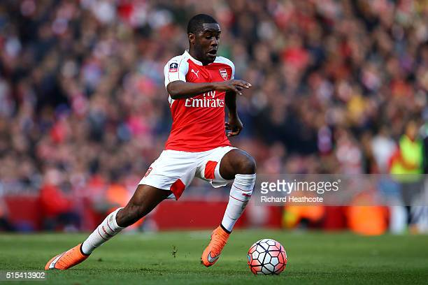 Joel Campbell of Arsenal in action during The Emirates FA Cup Sixth Round match between Arsenal and Watford at the Emirates Stadium on March 13 2016...