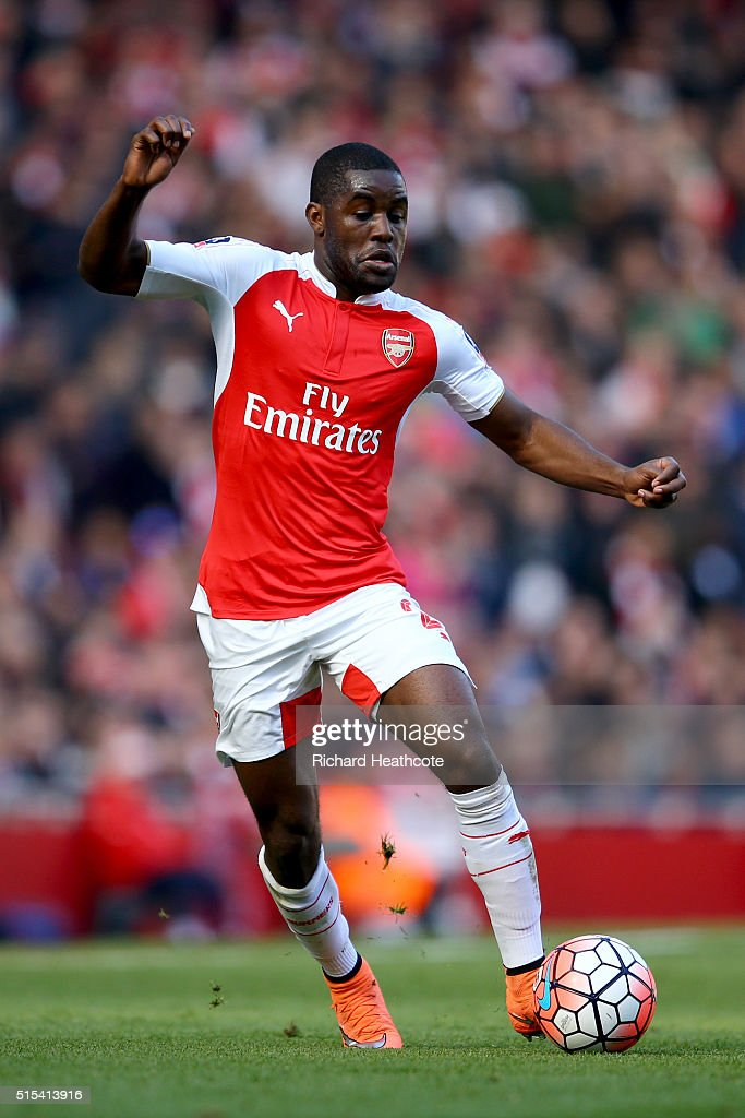 Joel Campbell of Arsenal in action during The Emirates FA Cup Sixth Round match between Arsenal and Watford at the Emirates Stadium on March 13, 2016 in London, England.