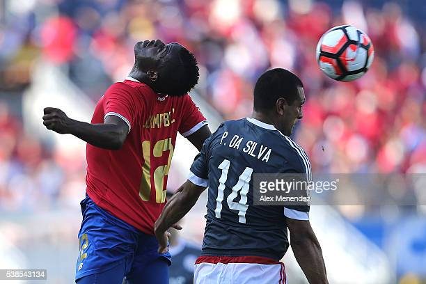Joel Campbell of Costa Rica and Paulo da Silva of Paraguay fight for the bad during the 2016 Copa America Centenario Group A match between Costa Rica...