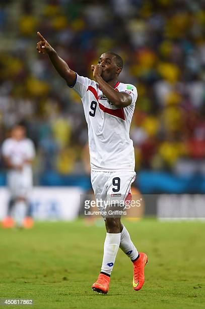 Joel Campbell of Costa Rica celebrates after defeating Uruguay 31 during the 2014 FIFA World Cup Brazil Group D match between Uruguay and Costa Rica...