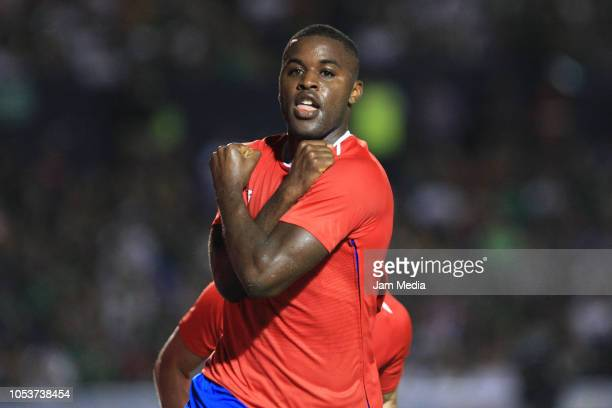 Joel Campbell of Costa Rica celebrates after scoring the firs goal during the international friendly match between Mexico and Costa Rica at...