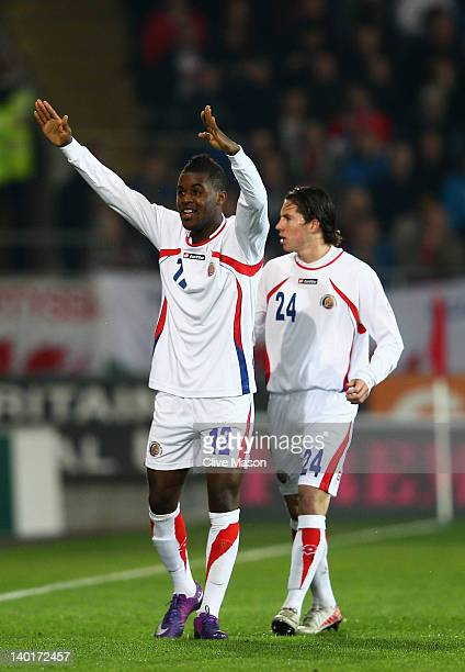 Joel Campbell of Costa Rica celebrates his goal during the Gary Speed Memorial International Match between Wales and Costa Rica at the Cardiff City...