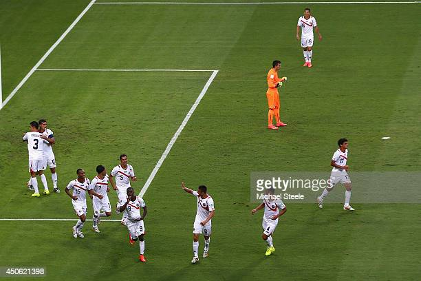 Joel Campbell of Costa Rica celebrates with his teammates after scoring his sides first goal at Castelao on June 14 2014 in Fortaleza Brazil