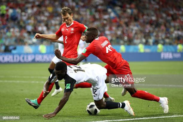 Joel Campbell of Costa Rica is bought down in the penalty area by Denis Zakaria of Switzerland to concede a penalty during the 2018 FIFA World Cup...