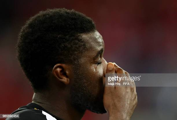 Joel Campbell of Costa Rica is seen in tears after the 2018 FIFA World Cup Russia group E match between Switzerland and Costa Rica at Nizhny Novgorod...