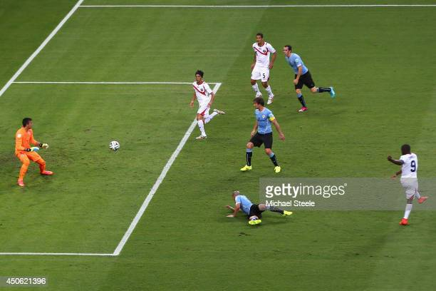 Joel Campbell of Costa Rica scores the equalising goal at Castelao on June 14 2014 in Fortaleza Brazil