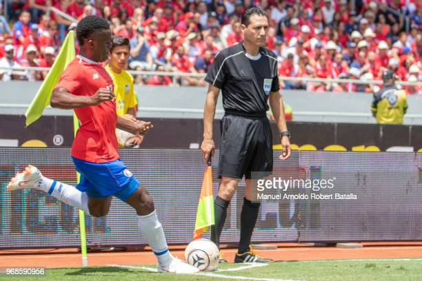 Joel Campbell of Costa Rica takes a corner kick during the International friendly match between Costa Rica and Northern Ireland at National Stadium...