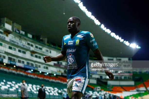 Joel Campbell of Leon walks on the field prior the 8th round match between Leon and Cruz Azul as part of the Torneo Guard1anes 2021 Liga MX at Leon...