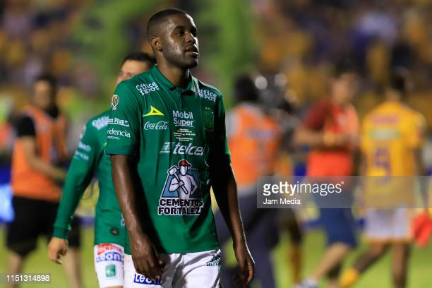 Joel Campbell of Leonleaves the field after the Final first leg match between Tigres UANL and Leon as part of the Torneo Clausura 2019 Liga MX at...