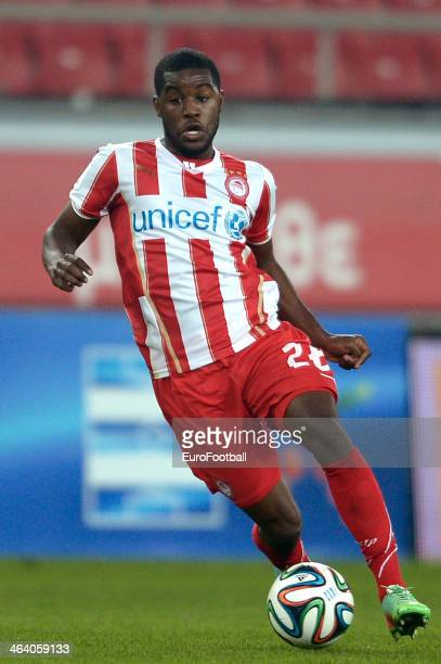 Joel Campbell of Olympiacos dribbles with the ball during the Greek Superleague match between Olympiacos and Levadiakos at the Georgios Karaiskakis...