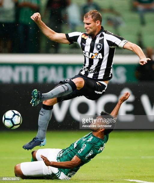 Joel Carli of Botafogo and Yerry Mina of Palmeiras in action during the match for the Brasileirao Series A 2017 at Allianz Parque Stadium on November...