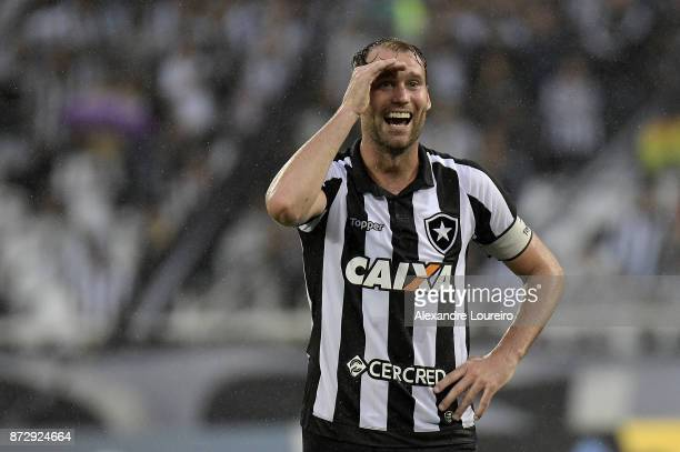 Joel Carli of Botafogo reacts during the match between Botafogo and Atletico PR as part of Brasileirao Series A 2017 at Engenhao Stadium on November...