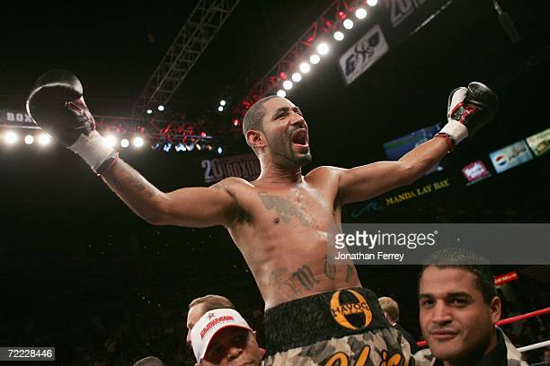Joel Casamayor celebrates his 12 Round victory over Diego Corrales during the WBC Lightweight Championship bout on October 7 2006 at the Mandalay Bay...