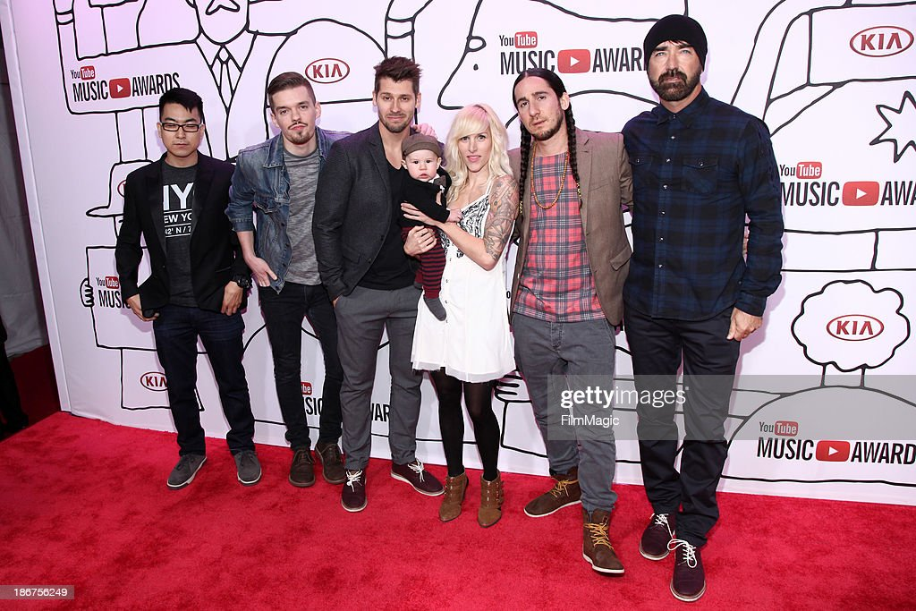 Joel Cassady, Ryan Marshall, Sarah Blackwood, Gianni Luminati, and Mike Tayler of Walk Off The Earth attend the 2013 YouTube Music awards at Pier 36 on November 3, 2013 in New York City.