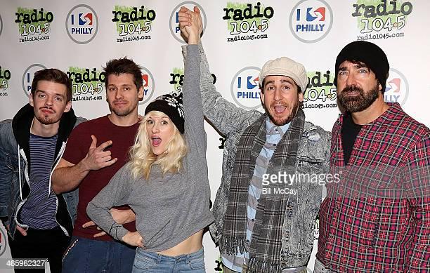 Joel Cassady Ryan Marshall Sarah Blackwood Gianni Luminati and Mike Taylor of Walk Off The Earth pose at Radio 1045 Performance Theater January 30...