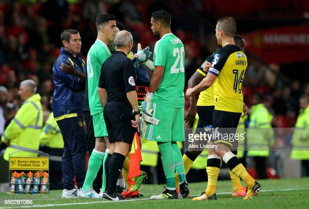 Joel Castro Pereira of Manchester United comes on for Sergio Romero of Manchester United during the Carabao Cup Third Round match between Manchester...