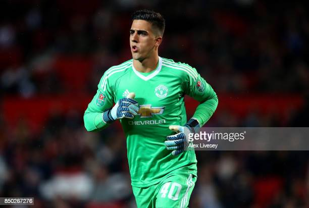 Joel Castro Pereira of Manchester United in action during the Carabao Cup Third Round match between Manchester United and Burton Albion at Old...
