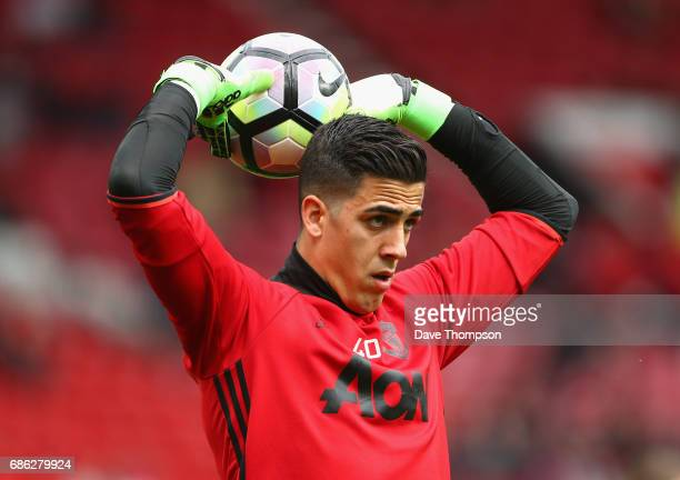 Joel Castro Pereira of Manchester United warms up prior to the Premier League match between Manchester United and Crystal Palace at Old Trafford on...
