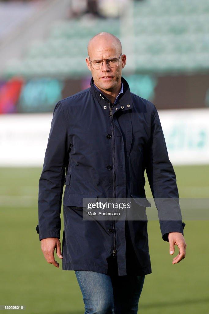 Joel Cedergren head coach of GIF Sundsvall before the Allsvenskan match between GIF Sundsvall and Kalmar FF at Idrottsparken on August 21, 2017 in Sundsvall, Sweden.