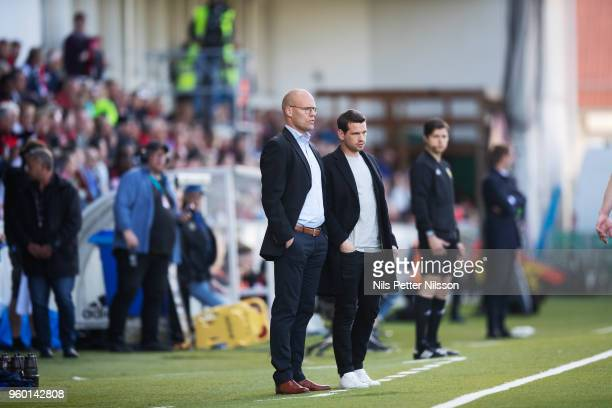 Joel Cedergren head coach of GIF Sundsvall during the Allsvenskan match between GIF Sundsvall and Ostersunds FK at Idrottsparken on May 19 2018 in...