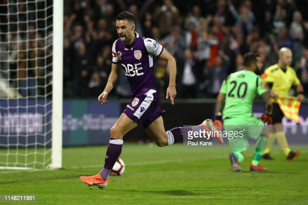 Joel Chianese of the Glory celebrates kicking the winning penalty during the ALeague Semi Final match between the Perth Glory and Adelaide United at...