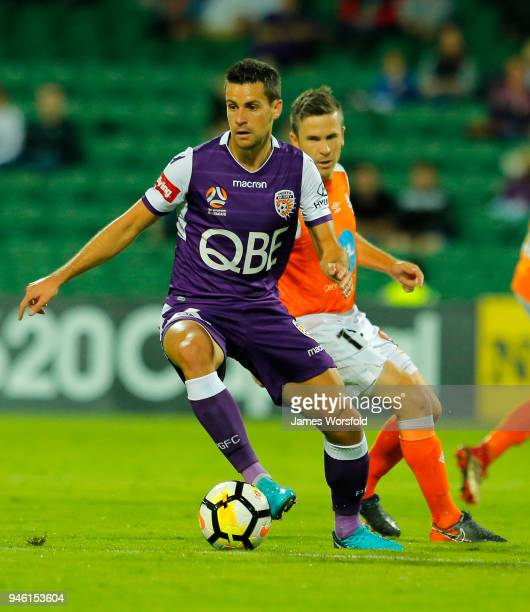 Joel Chianese of the Perth Glory looking for a pass during the round 27 ALeague match between the Perth Glory and the Brisbane Roar at nib Stadium on...