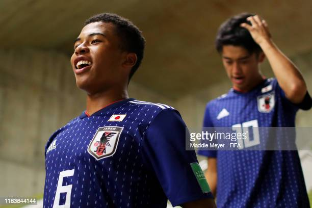 Joel Chima Fujita of Japan cheers for his team in the tunnel before the Group D Match between Japan and Netherlands in the FIF U17 World Cup Brazil...