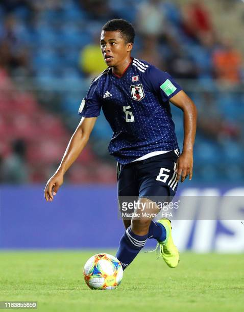 Joel Chima Fujita of Japan dribbles during the Group D Match between Japan and Netherlands in the FIF U17 World Cup Brazil 2019 on October 27 2019 in...