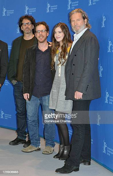 Joel Coen Ethan Coen Hailee Steinfeld and Jeff Bridges attend the 'True Grit' Photocall during the opening day of the 61st Berlin International Film...