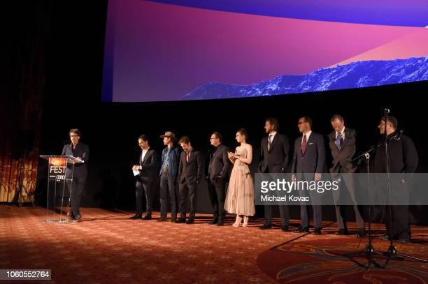 Joel Coen, Ethan Coen, Willie Watson, Tim Blake Nelson, Stephen Root, Zoe Kazan, Bill Heck, Grainger Hines, Chelcie Ross and Saul Rubinek are seen...