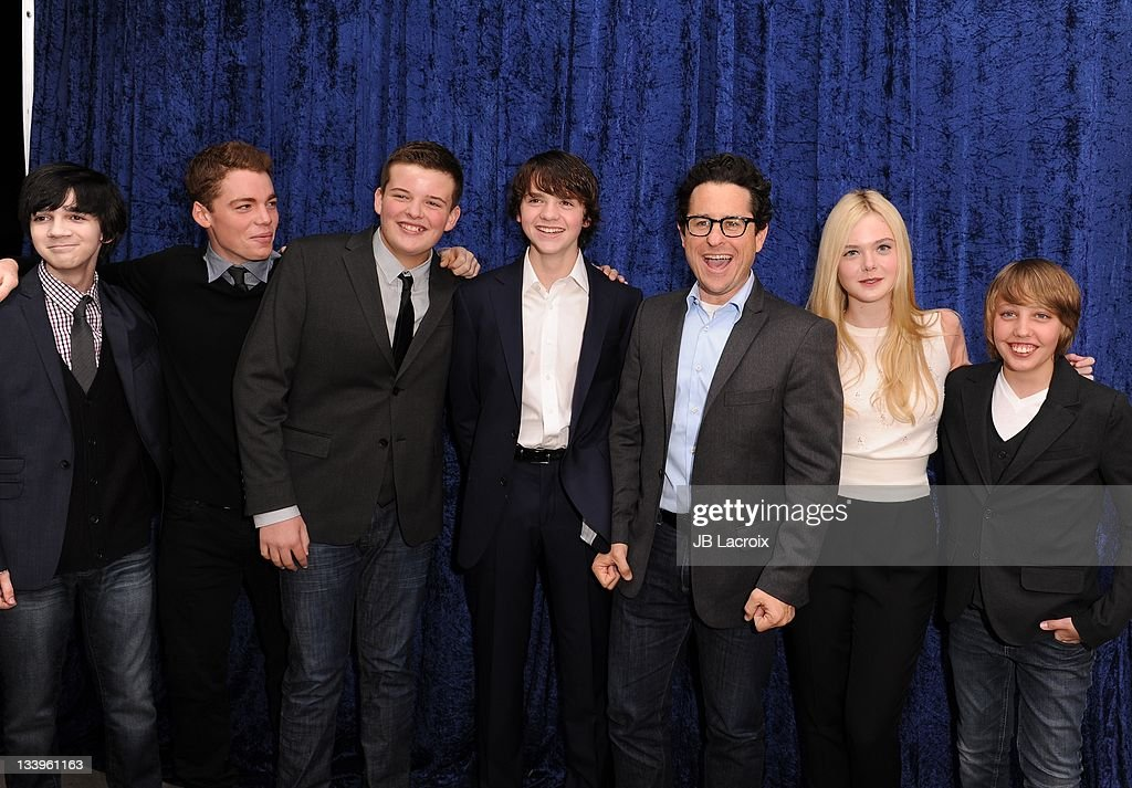 Joel Courtney, Riley Griffiths, Elle Fanning, Ryan Lee, Zack Mills, J.J Abrams and Gabriel Basso arrive to Paramount Pictures' 'Super 8' Blu-ray and DVD release party at AMPAS Samuel Goldwyn Theater on November 22, 2011 in Beverly Hills, California.