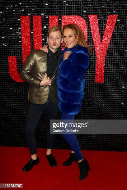 Joel Creasey and Rhonda Burchmore attend the Australian premiere of Judy at The Capitol on October 08 2019 in Melbourne Australia
