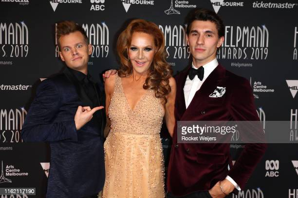 Joel Creasey Rhonda Burchmore Jack StrattonSmith attends the 19th Annual Helpmann Awards Act II at Arts Centre Melbourne on July 15 2019 in Melbourne...