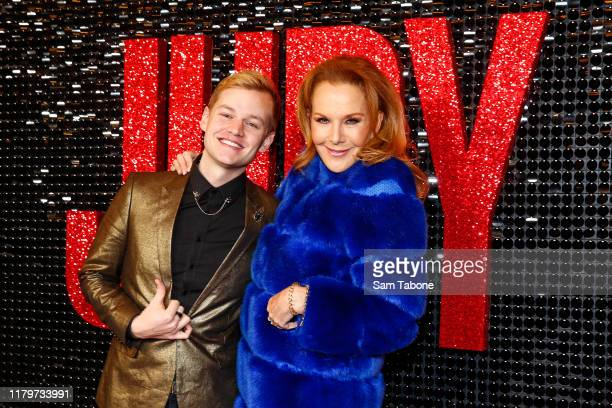Joel Creasy and Rhonda Burchmore attends the Australian premiere of Judy at The Capitol on October 08 2019 in Melbourne Australia
