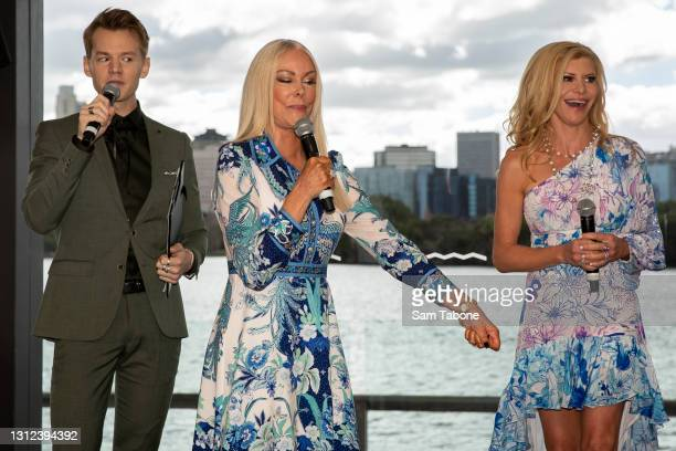 Joel Creasy, Janet Roach and Gamble Breaux attends the cast announcement for The Real Housewives of Melbourne season 5 on April 14, 2021 in...