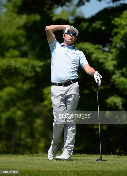 Joel Dahmen reacts to his drive on the seventh hole during the final round of the Webcom Tour LECOM Health Challenge at Peek'n Peak Rst Upper Course...