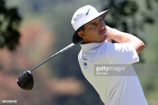 Joel Dahmen tees off on the second hole during the final round of A Military Tribute At The Greenbrier held at the Old White TPC course on July 8...