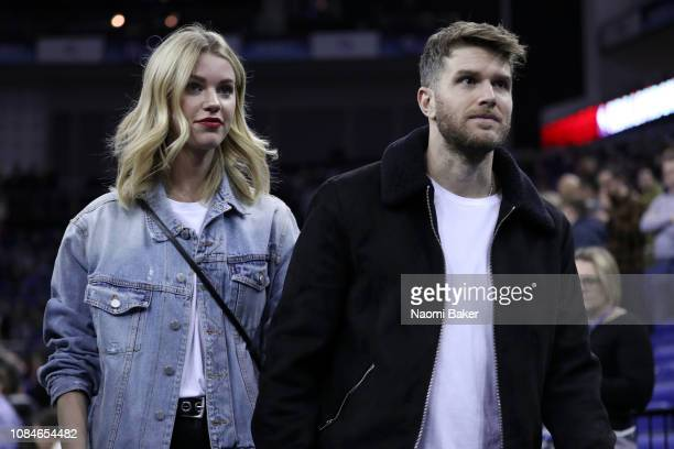 Joel Dommett and girlfriend Hannah Cooper are seen at the NBA London game 2019 between Washington Wizards and New York Knicks at The O2 Arena on...