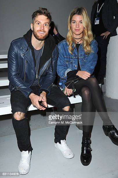 Joel Dommett and guest attend the Matthew Miller show during London Fashion Week Men's January 2017 collections at BFC Show Space on January 7 2017...