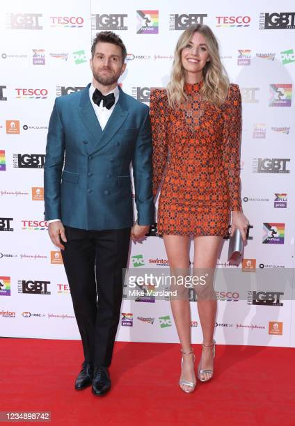 Joel Dommett and Hannah Cooper attend the British LGBT Awards 2021 at The Brewery on August 27, 2021 in London, England.