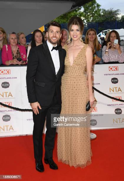 Joel Dommett and Hannah Cooper attend the National Television Awards 2021 at The O2 Arena on September 09, 2021 in London, England.